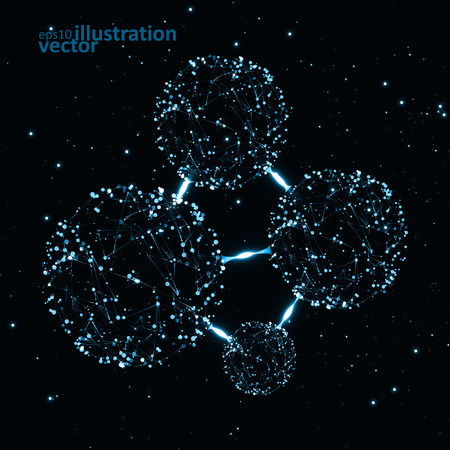 sphere base: Molecular structure, network connection Illustration