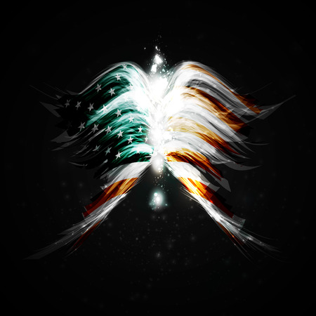 new age: Abstract angel wings with american flag on shiny space background Stock Photo