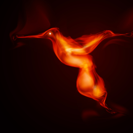 burning: Burning fiery bird, abstract illustration