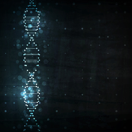blue dna: Futuristic dna, abstract molecule cell illustration