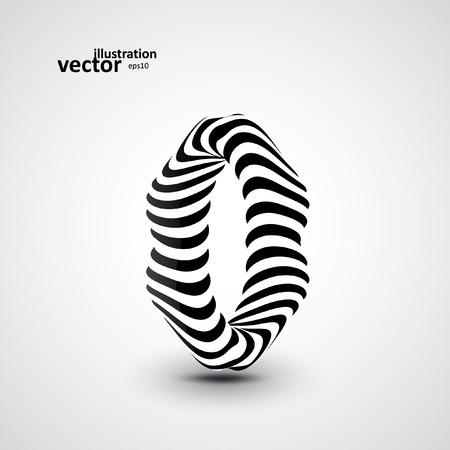 3d art: Abstract dynamic illustration, black and white 3d art Illustration