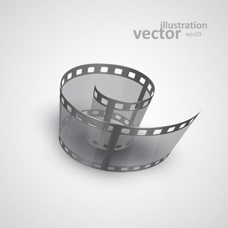 Spiral of film strip. Graphic concept for your design. vector illustration