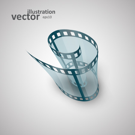 single coil: Spiral of film strip. Graphic concept for your design.