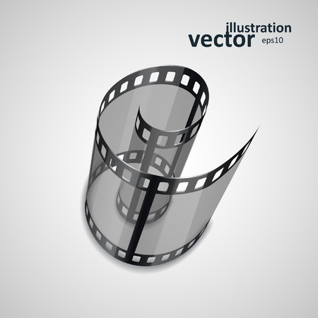 cinematograph: Spiral of film strip. Graphic concept for your design.
