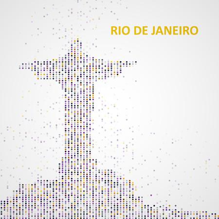 corcovado: Technology image of Rio de Janeiro. The concept vector illustration