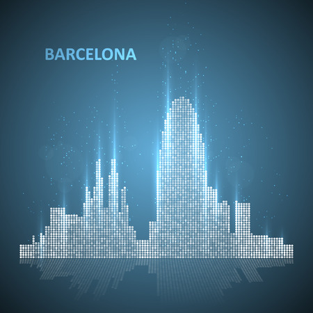 Technology image of Barcelona. The concept vector illustration eps10