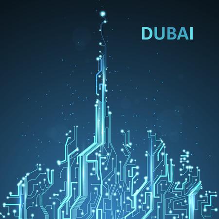 Technologie Bild von Dubai. Vektorgrafik