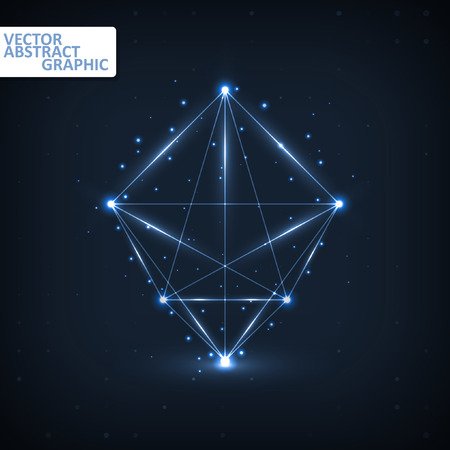 icosahedron: Wireframe polygonal elements, abstract futuristic vector illustration