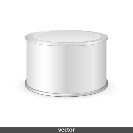 tincan: Metal tin can, canned food. Illustration isolated on white background. Graphic concept for your design