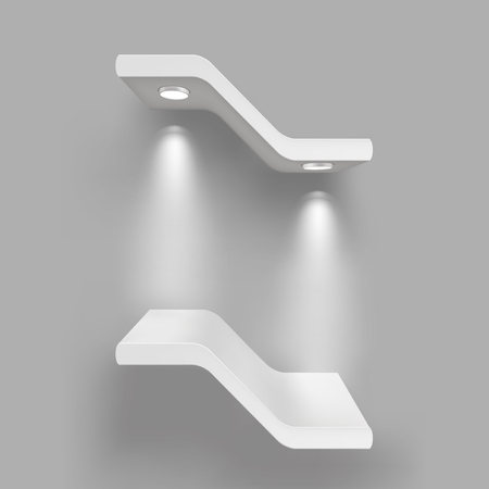 Exhibition shelves with light sources. Illustration isolated on gray background. Graphic concept for your design