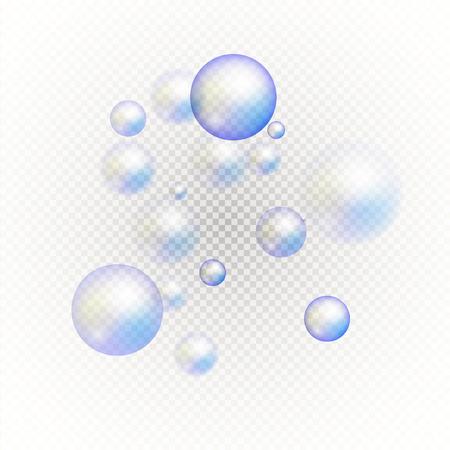Set of multicolored transparent soap bubbles. Graphic concept for your design Illustration