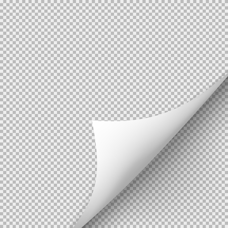 Curled corner of paper with shadow on transparent background. Graphic concept for your design Illustration