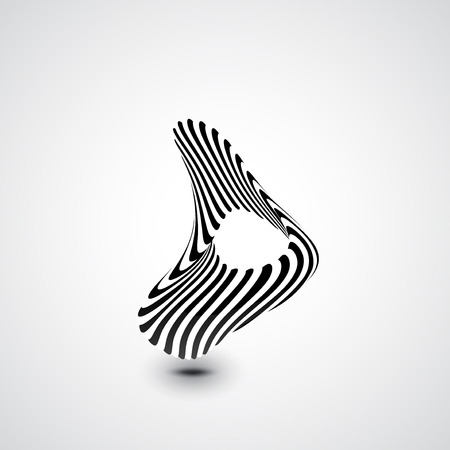 Abstract dynamic illustration, black and white 3d art