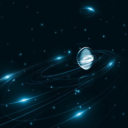 Abstract futuristic space background, dark art illustration