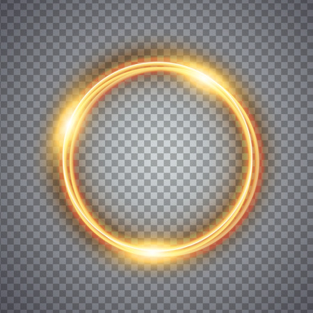 ring flash: Magic gold circle light effect. Illustration isolated on background. Graphic concept for your design