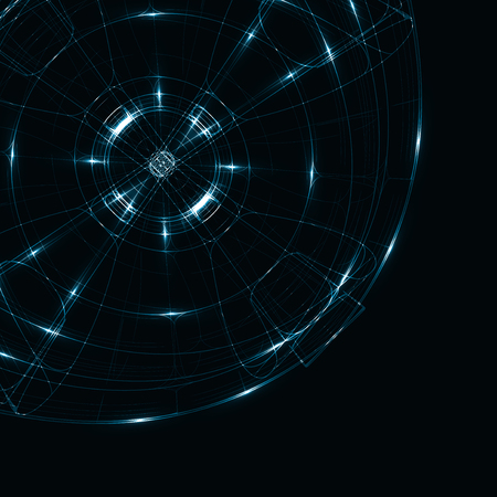 Abstract technology, technical drawing, shiny space background  Stock Photo