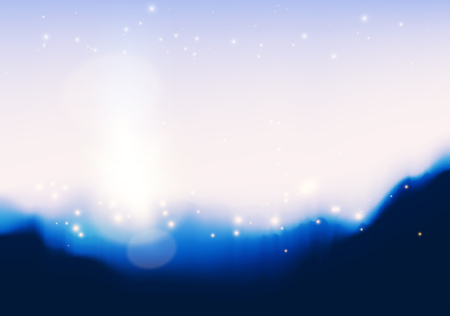 layered: Mountain peaks illustration, Golden glowing lights effects. Graphic concept for your design