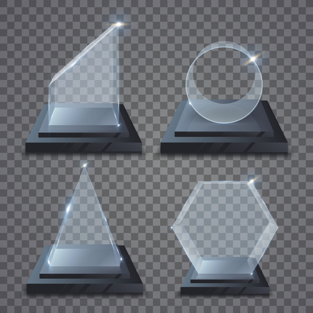 Realistic glass trophy awards. Illustration isolated on transparent background. Graphic concept for your design
