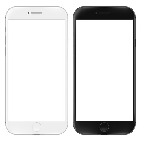 Realistic mobile phone. Smartphone illustration isolated on white. Graphic concept for your design