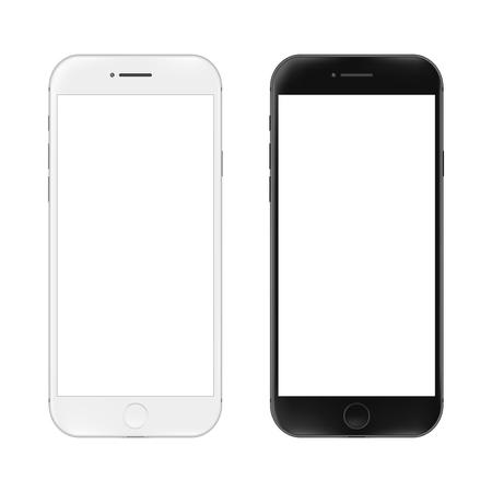 현실적인 휴대 전화입니다. 흰색 배경에 고립 된 스마트 폰 그림입니다. 디자인을위한 그래픽 개념 일러스트