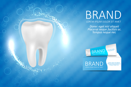 Whitening toothpaste ad. Graphic concept for your design Vettoriali