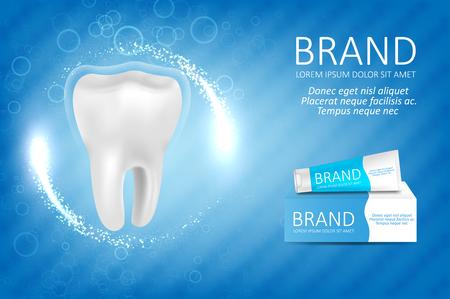 Whitening toothpaste ad. Graphic concept for your design Ilustração
