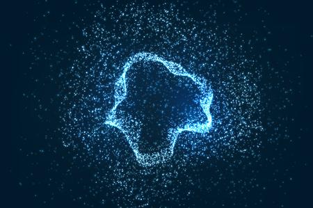 光る粒子背景、抽象的なデジタル暗いイラスト