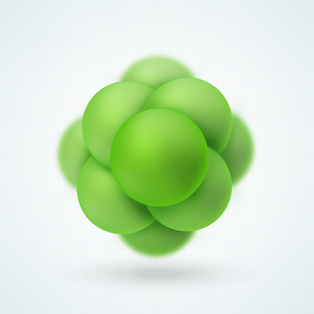 Abstract molecular structure. Group of atoms forming molecule. Graphic illustration for your design Illustration