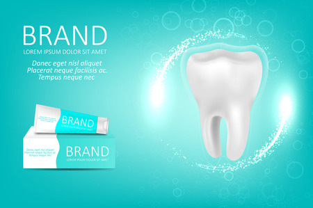 Whitening toothpaste ad. Graphic concept for your design Ilustração