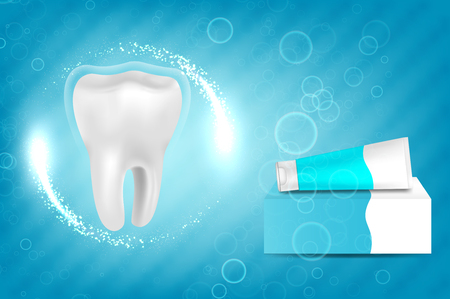 Whitening toothpaste ad. Graphic concept for your design Illustration