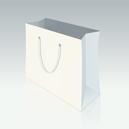 unprinted: Paper shopping bag  with shadow on background. Graphic concept for your design