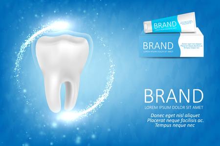 Blanqueamiento de pasta de dientes ad. Concepto gráfico para su diseño