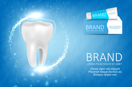 Whitening toothpaste ad. Graphic concept for your design Ilustracja