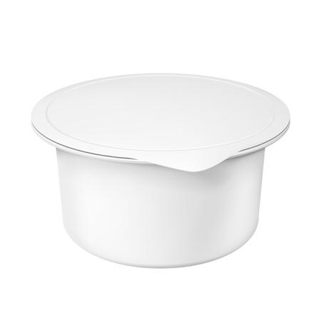 Realistische witte mock-up lege plastic container voor yoghurt. Illustratie op witte achtergrond wordt geïsoleerd die. Grafisch concept voor uw ontwerp