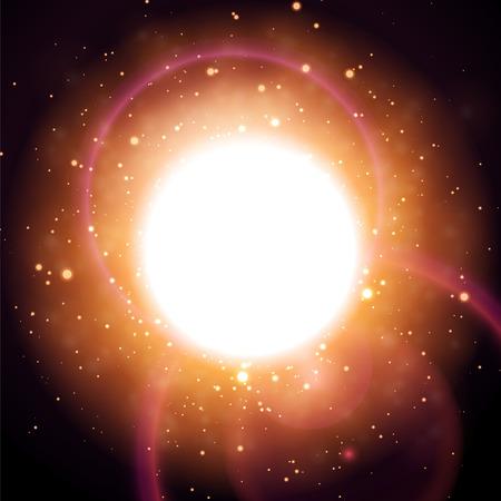 Gloeiende deeltjesachtergrond, lichte cirkel, abstracte digitale donkere illustratie