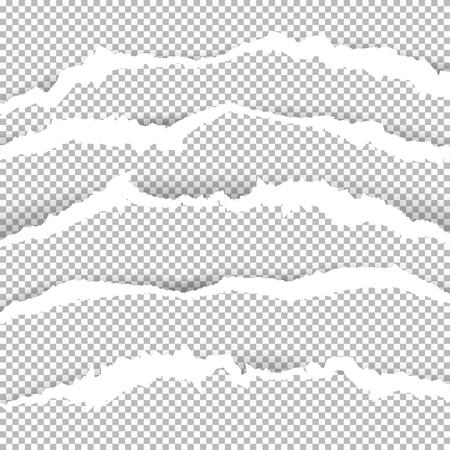 透明な背景に影を持つ破れたエッジを持つ破れた用紙。デザインのグラフィックコンセプト