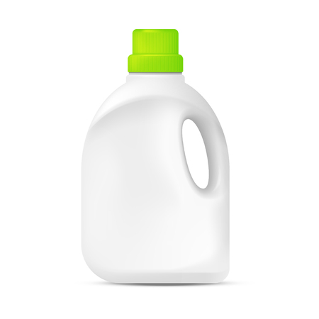 Bouteille en plastique détergent à lessive. Illustration isolée sur fond blanc. Concept graphique pour votre conception Vecteurs