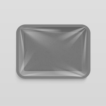 Empty plastic food container. Illustration isolated on gray background. Graphic concept for your design