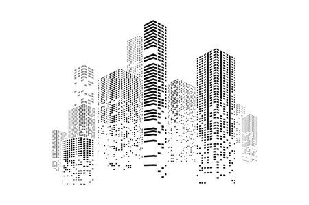 Gebäude und Stadt Illustration. Illustration lokalisiert auf weißem Hintergrund. Grafisches Konzept für Ihr Design