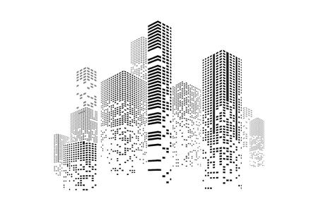 Illustrazione della città e dell'edificio. Illustrazione isolato su sfondo bianco. Concept grafico per il tuo design