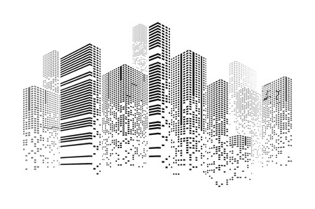 Building and city illustration. Illustration isolated on white background. Graphic concept for your design Illustration