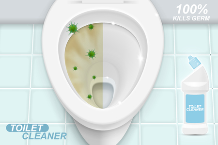 Toilet cleaner gel ads. Realistic illustration with top view.
