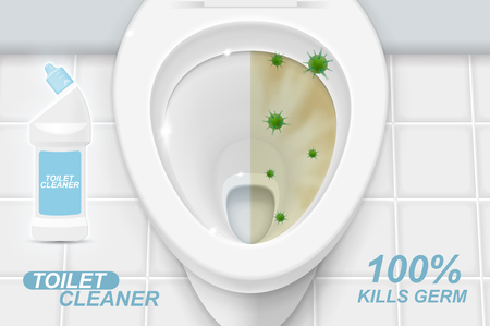 Toilet cleaner gel ads. Realistic illustration with top view. Graphic concept for your design