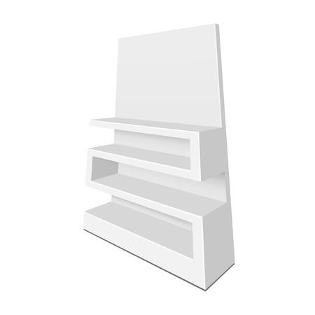 Exhibition shelves for supermarket. Illustration isolated on white background. Graphic concept for your design Illustration