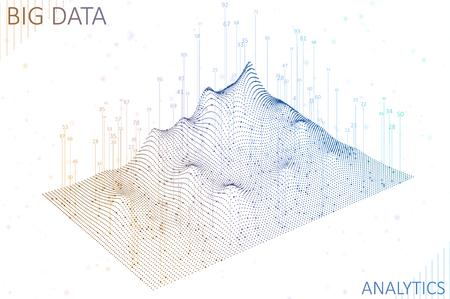 Abstract infographics visualization. Big data code representation. Futuristic network or business analytics. Graphic concept for your design Ilustração