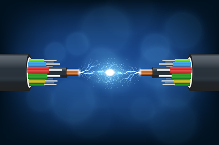 Fiber optical cable. Illustration isolated on blue background.