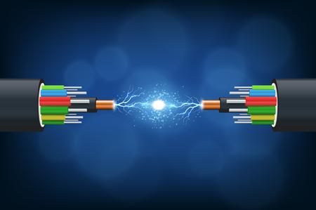 Vezel optische kabel. Illustratie geïsoleerd op blauwe achtergrond. Vector Illustratie