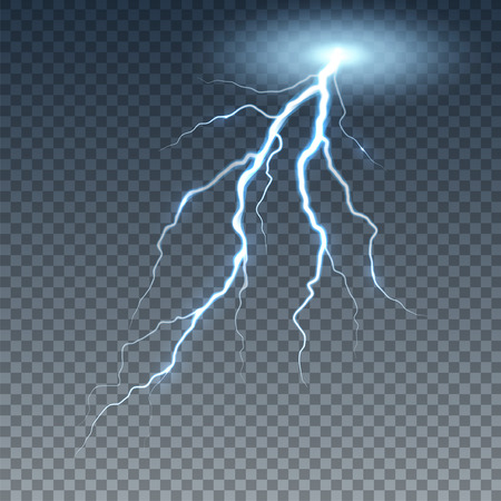 Realistic lightning and thunder bolt. Illustration isolated on transparent background.