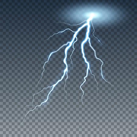 Realistic lightning and thunder bolt. Illustration isolated on transparent background.
