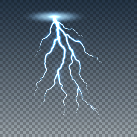 Realistic lightning and thunder bolt. Illustration isolated on transparent background. Graphic concept for your design Banco de Imagens - 99565552